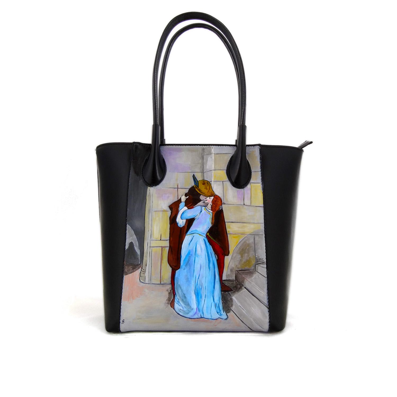 Handpainted bag - The Kiss by Hayez