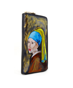 Hand painted wallet - Girl with a Pearl Earring by Vermeer