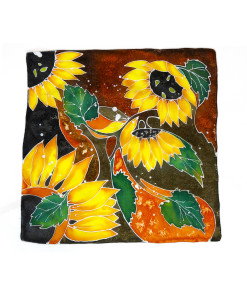 Hand painted headscarf - Sunflowers
