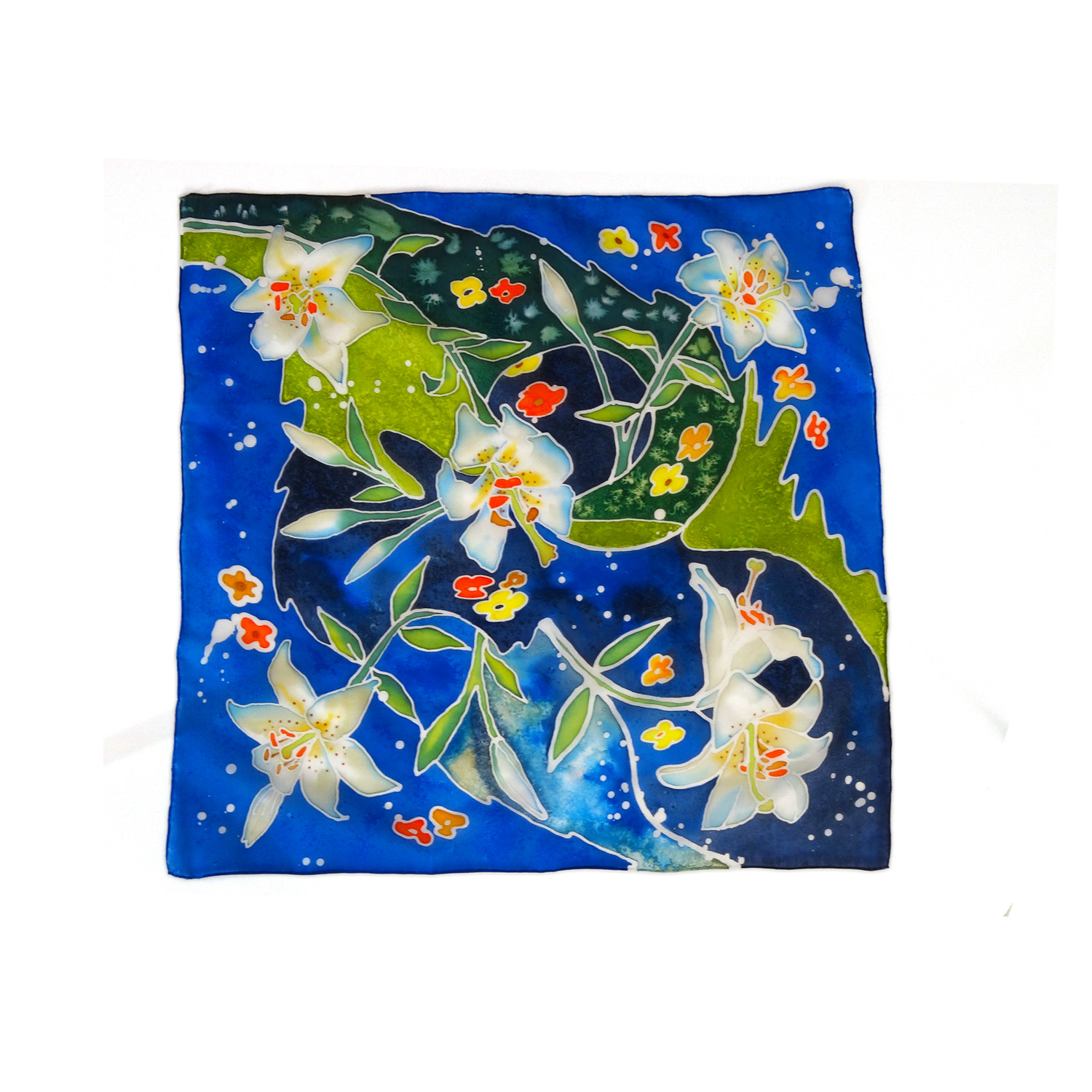 Pure silk hand painted headscarf - White Lilies