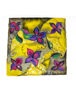 Pure silk hand painted headscarf - Flowers in colors