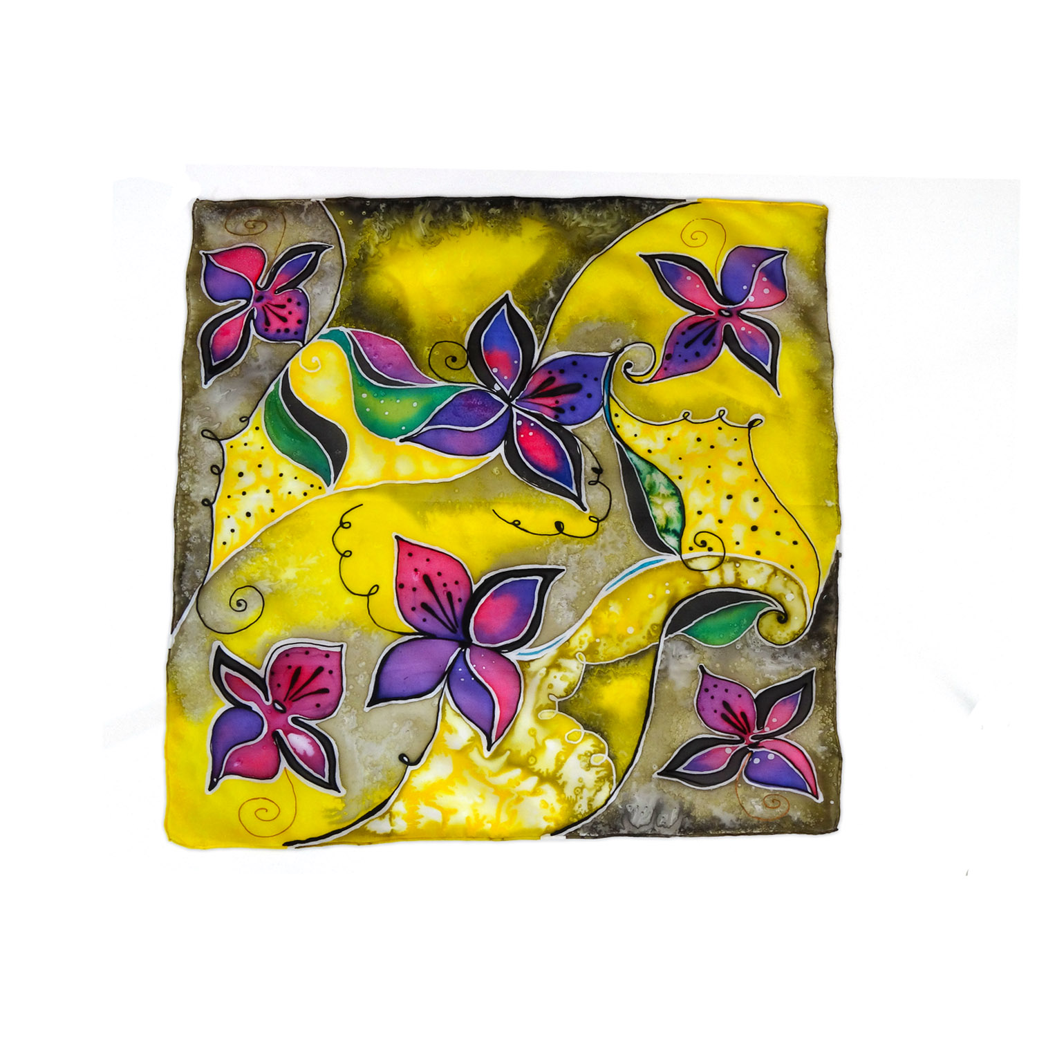 Foulard dipinto a mano – Fiori in color