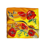 Pure silk hand painted headscarf - Poppies
