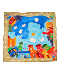 Hand painted headscarf - Cartoon City Day & Night