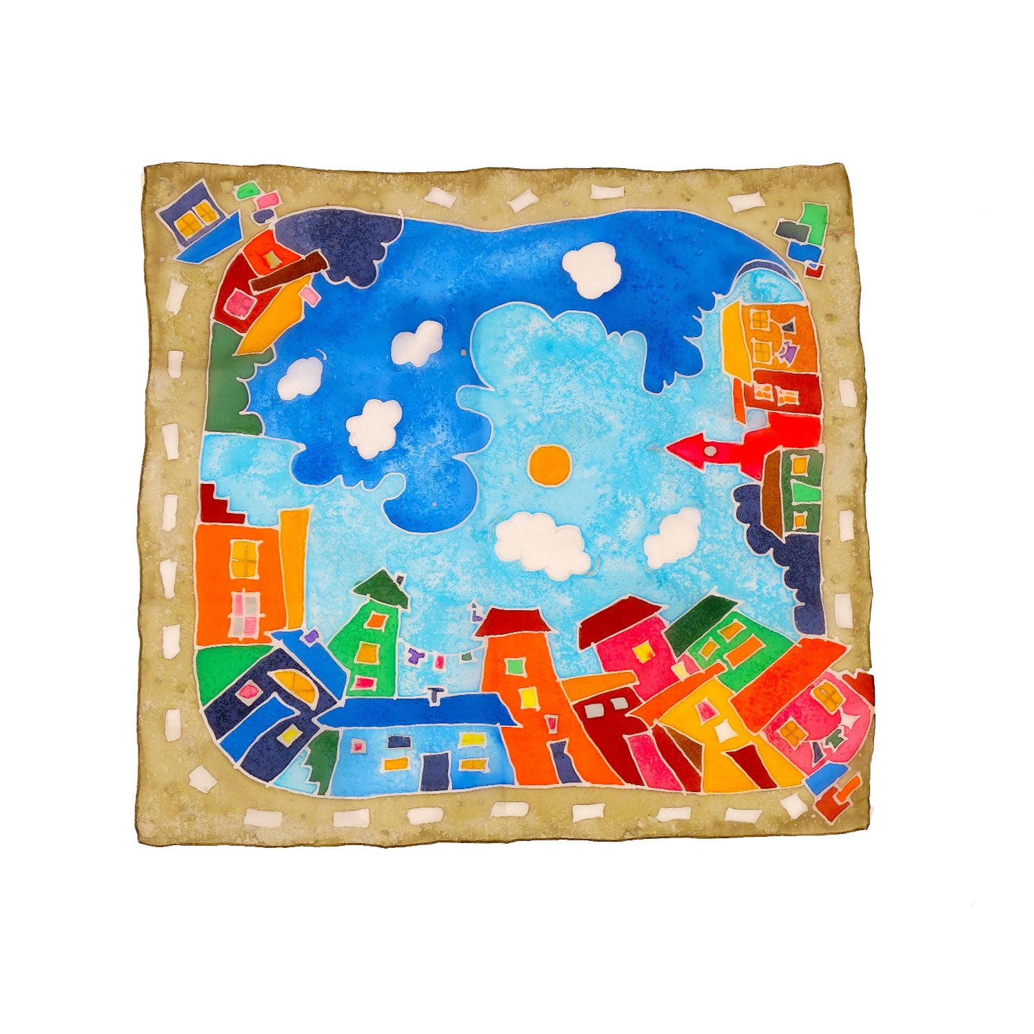 Foulard dipinto a mano – Cartoon City Night & Day