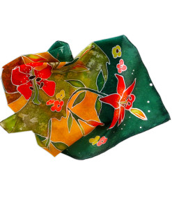 Hand painted headscarf - Red Lilies