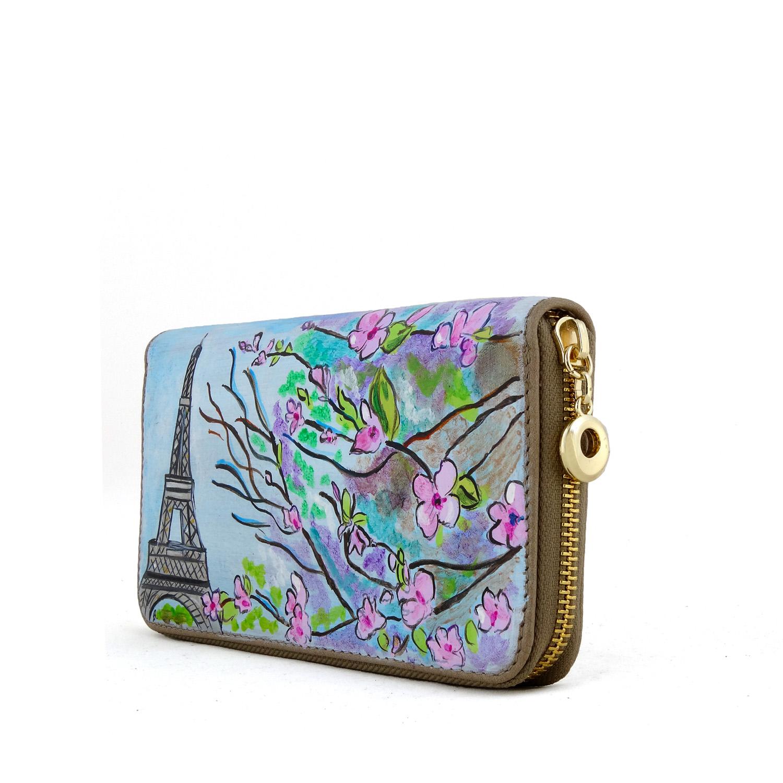 Portafoglio dipinto a mano – Parigi in Fiore