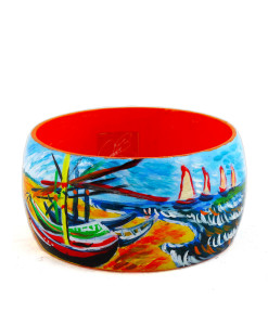 Hand-painted bangle - Fishing boats on the beach of Les Saintes-Maries-de-la-Mer by Van Gogh