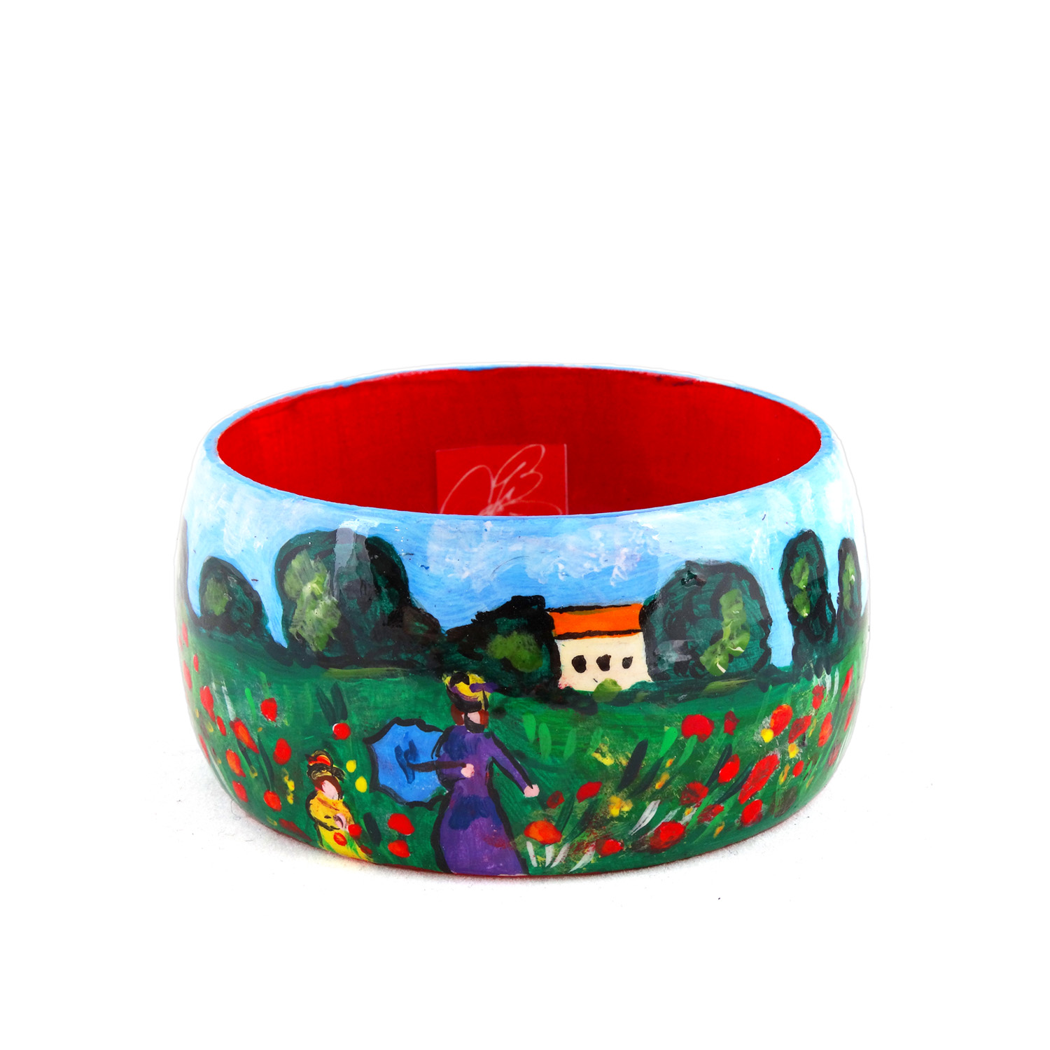 Hand-painted bangle - Poppies by Monet
