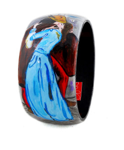 Hand-painted bangle - The Kiss by Hayez