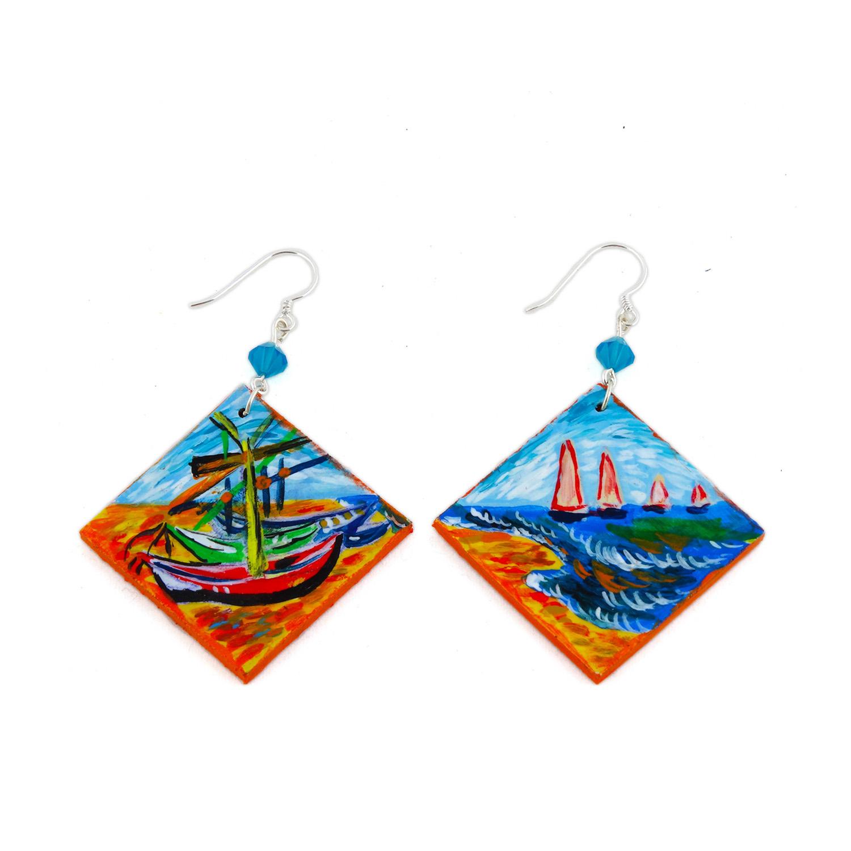 Hand painted earrings - Fishing boats on the beach of Les Saintes-Maries-de-la-Mer by Van Gogh