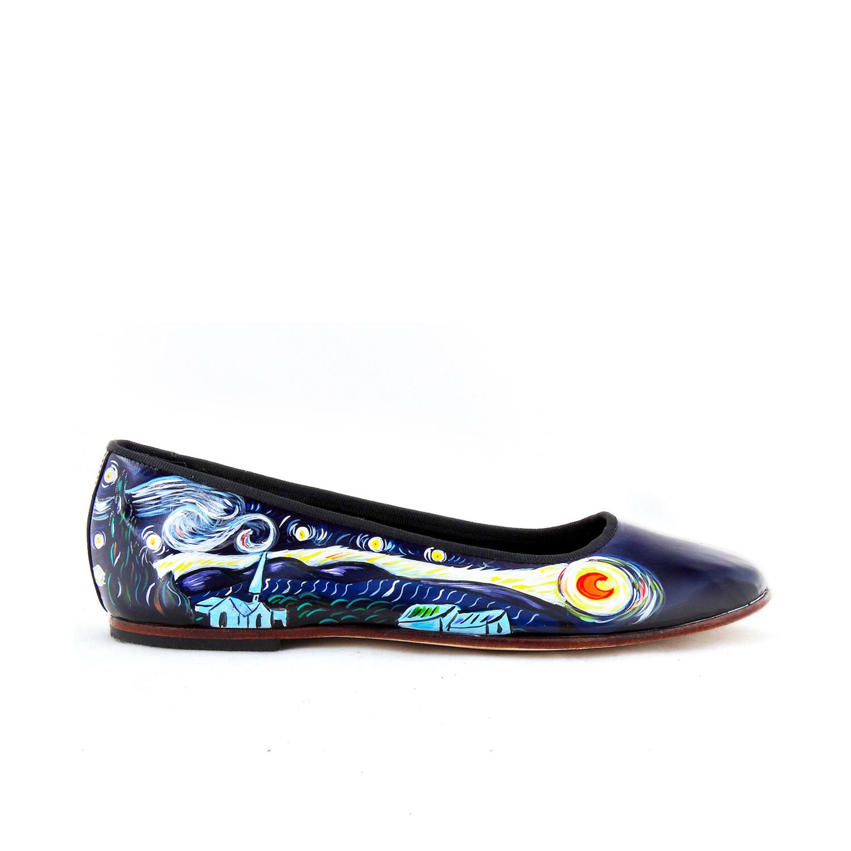 Scarpe ballerine dipinte a mano – La notte stellata di Van Gogh