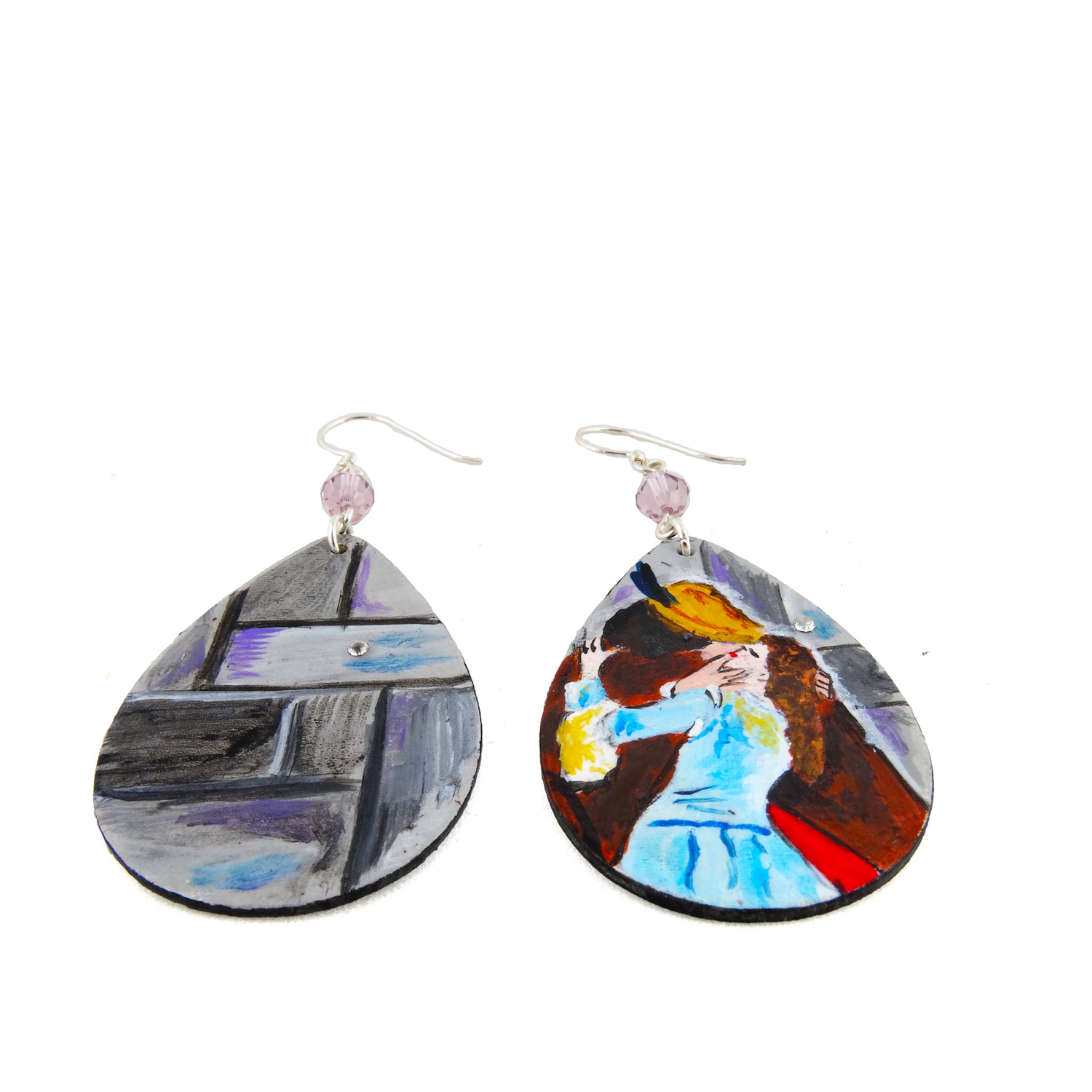 Hand-painted earrings - The Kiss by Hayez