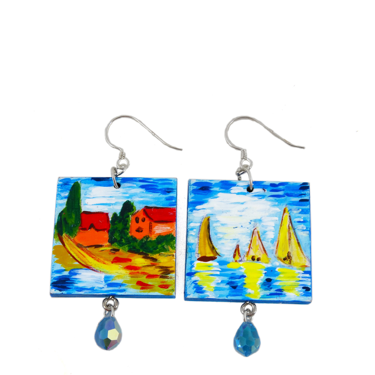 Hand painted earrings - Regatta at Argenteuil by Monet