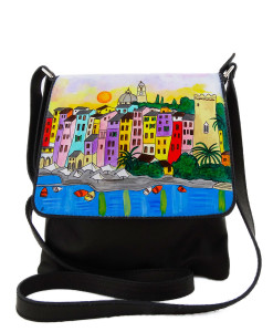 Hand-painted bag - Sunset in Portovenere