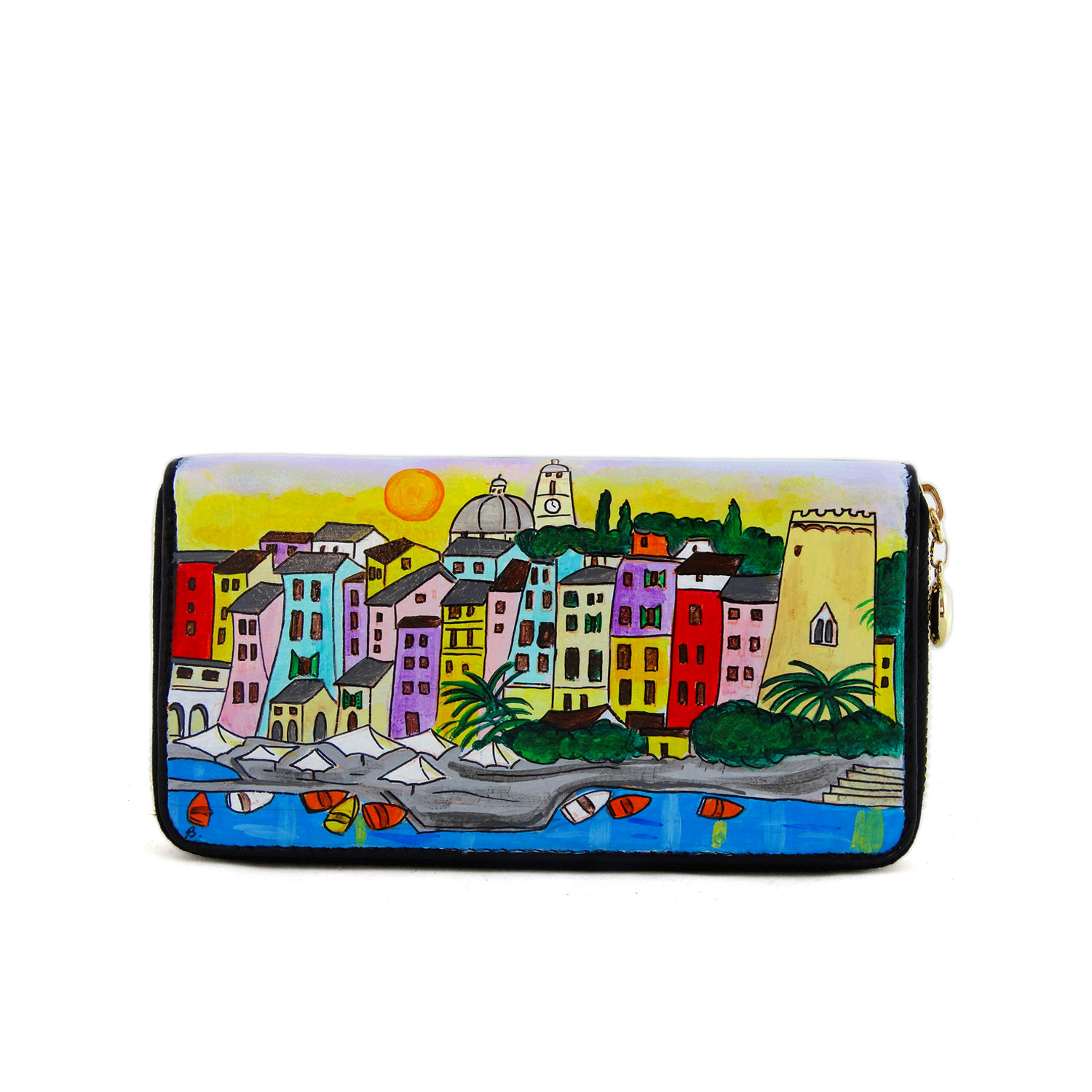 Hand painted wallet - Sunset in Portovenere