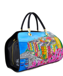Hand-painted bag - Portovenere in bloom