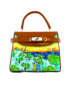 Hand-painted bag - Landscape with Couple Walking and Crescent Moon by Van Gogh