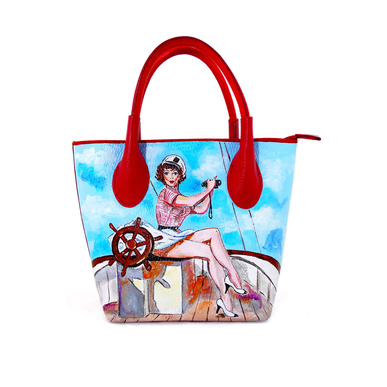 Hand-painted bag - Sailor girl