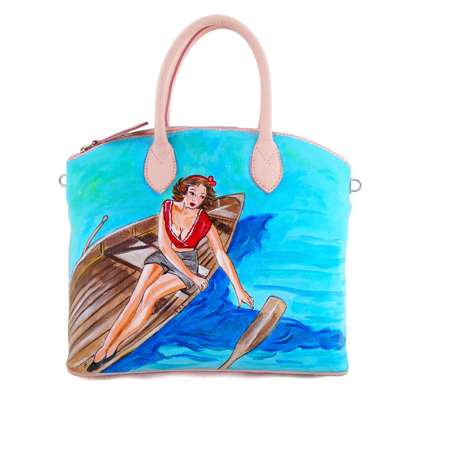 Hand-painted bag - Girl on the boat