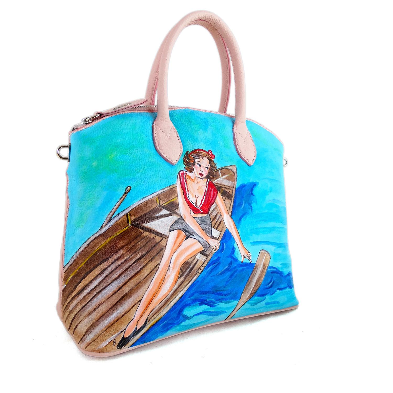 Borsa dipinta a mano – Girl on the boat
