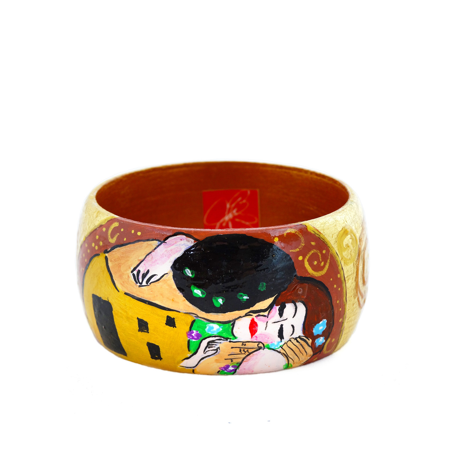 Hand-painted bangle - The Kiss by Klimt