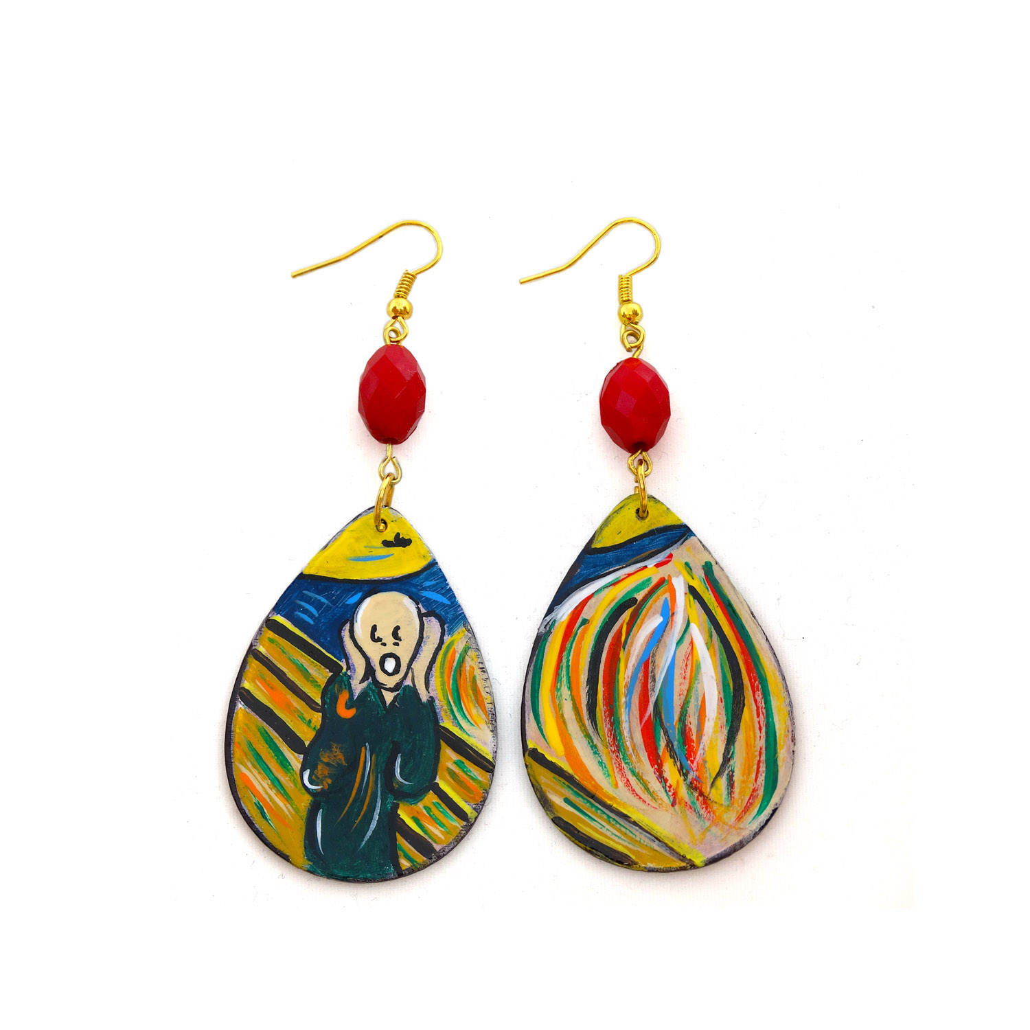 Hand painted earrings - The Scream by Munch