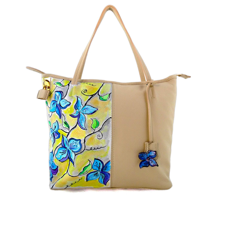 Borsa dipinta a mano – Blau Blume