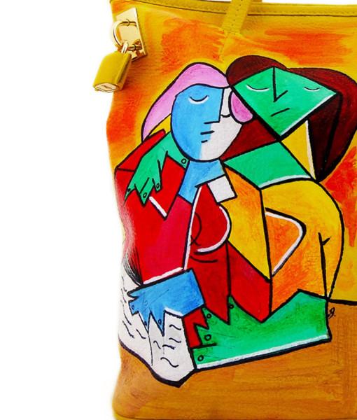 Borsa dipinta a mano – Due ragazze che leggono di Picasso