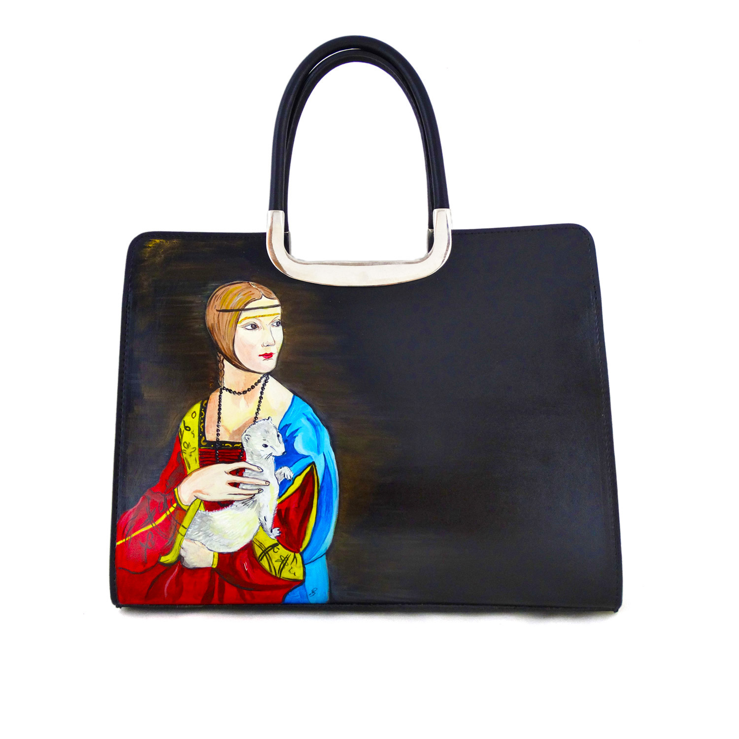 Hand-painted bag - Lady with an Ermine by Leonardo