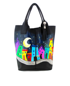 Hand-painted bag - Crazy village
