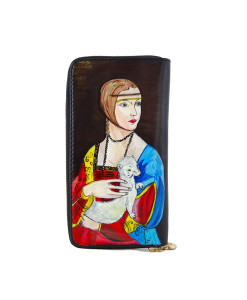 Hand painted wallet - Lady with an Ermine by Leonardo