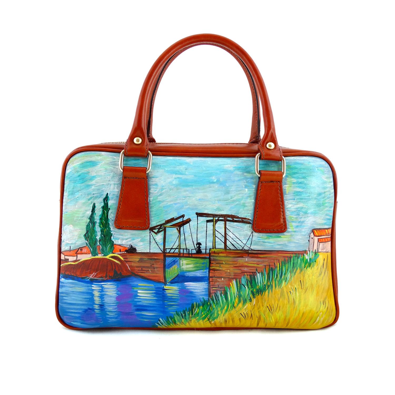 Hand-painted bag - Langlois Bridge by Van Gogh