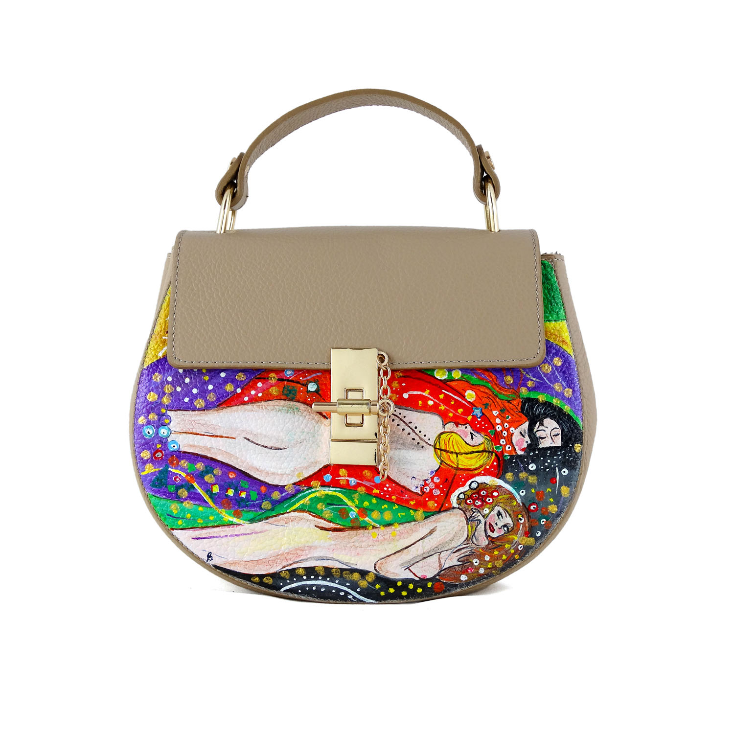 Hand-painted bag - Water snakes by Klimt