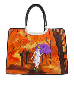 Hand-painted bag - Autumn colors