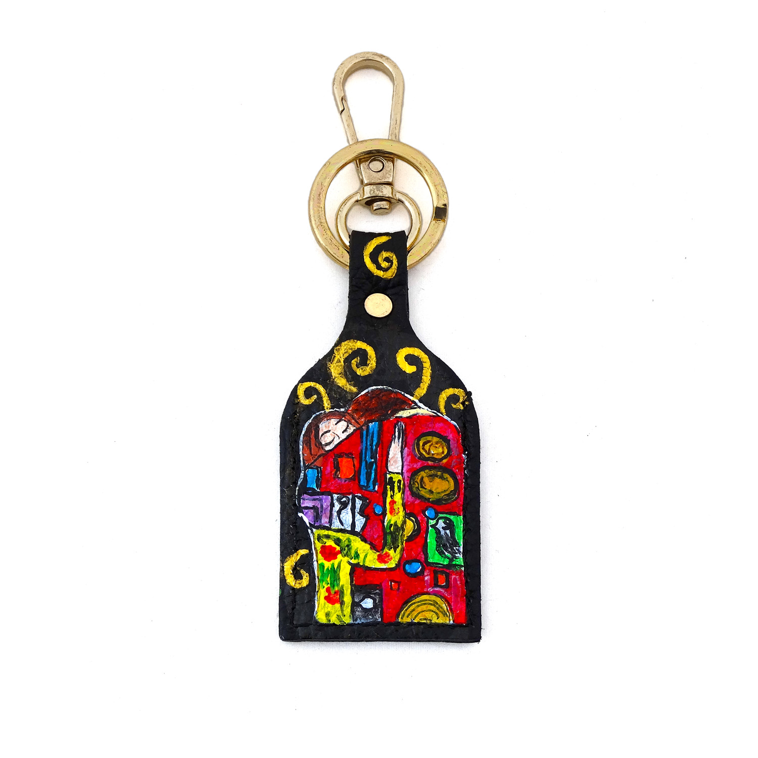 Hand painted keychain - The embrace by Klimt