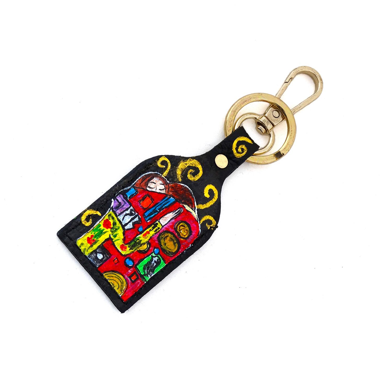 Portachiavi dipinto a mano – L'abbraccio di Klimt