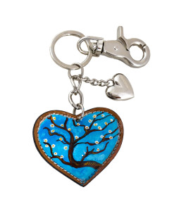 Hand painted keychain - The almond tree by Van Gogh