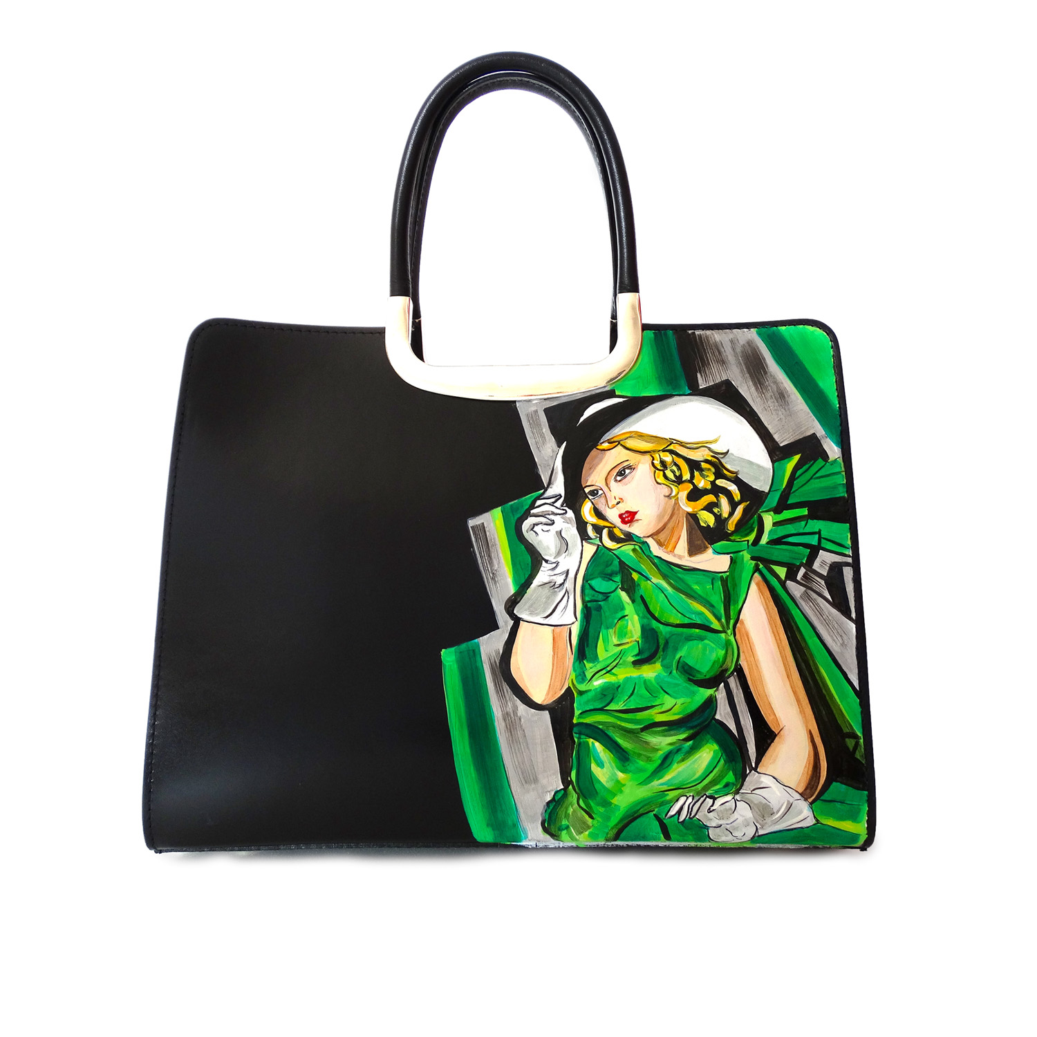 Handpainted bag - Girl in a green dress by De Lempicka