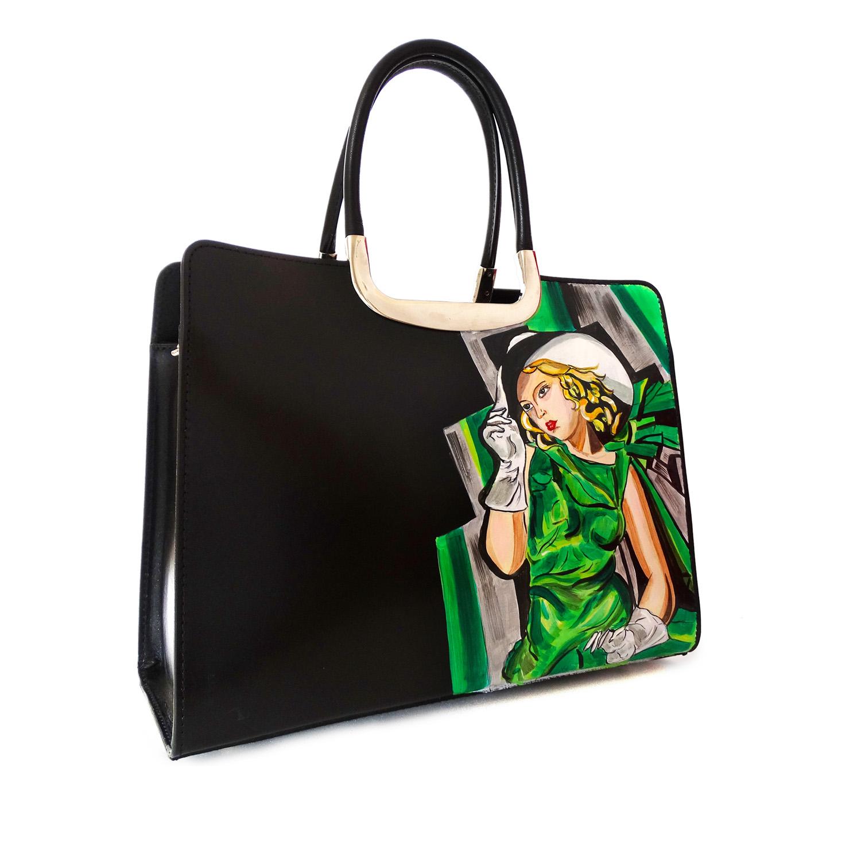 Handpainted bag - Girl in a green dress by De Lempicka