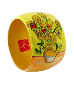 Hand-painted bracelet - Sunflowers by Van Gogh