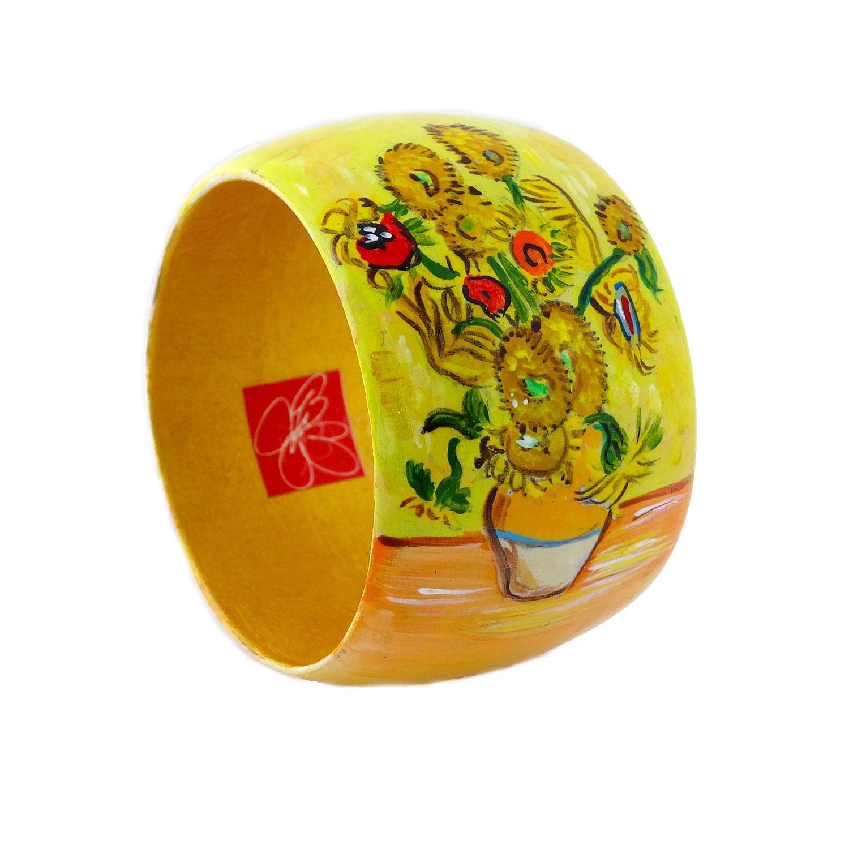 Bracciale dipinto a mano - I girasoli di Van Gogh