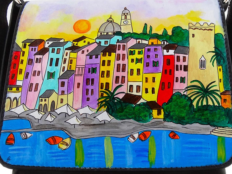 Borsa dipinta a mano – Tramonto a Porto Venere