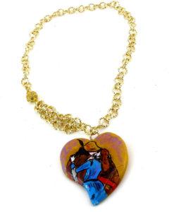 Collana dipinta a mano – Il Bacio di Hayez