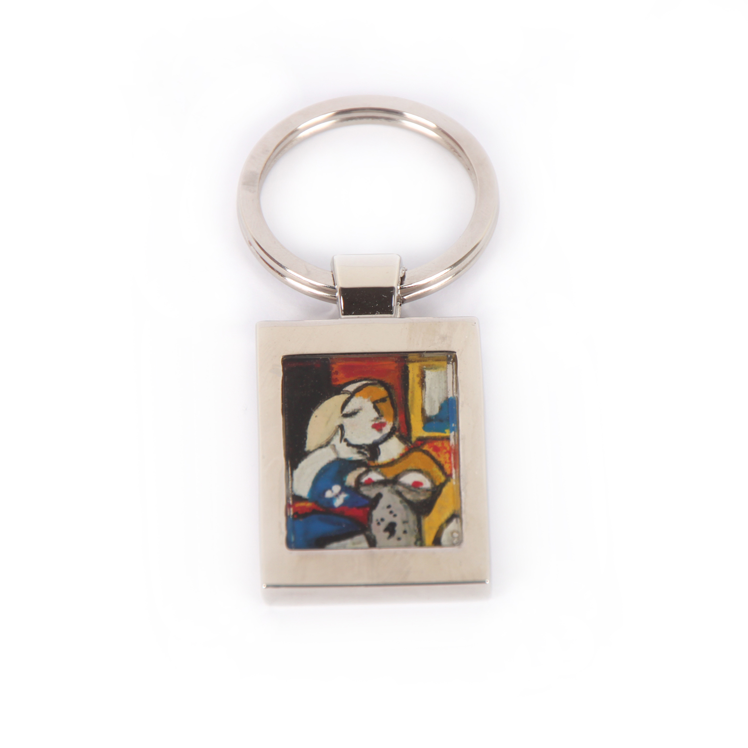 Hand painted keychain - Woman Reading by Picasso