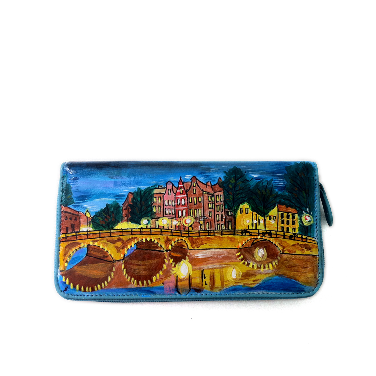 Hand painted wallet - Amsterdam shining