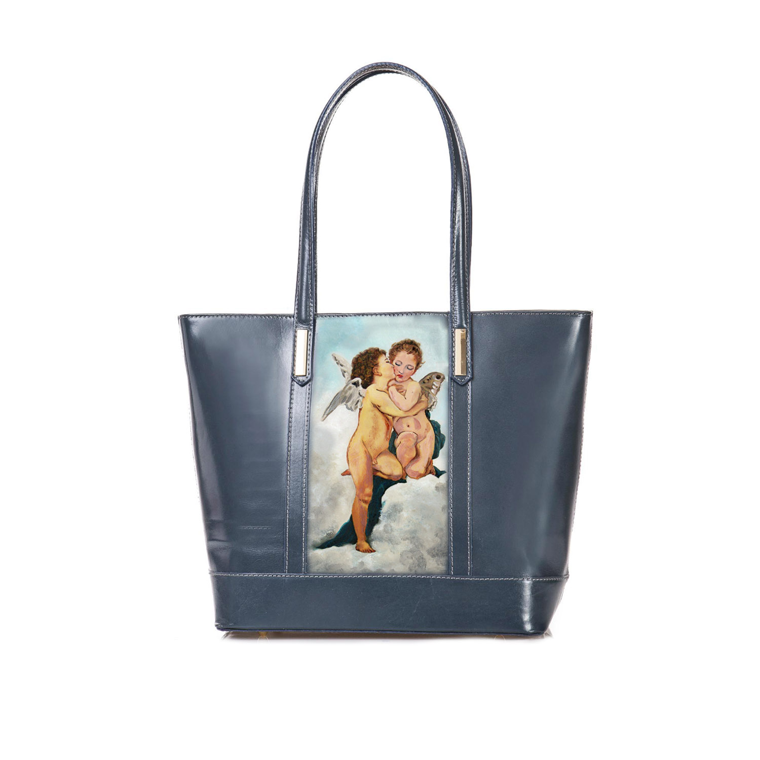 Handpainted bag - Love and Psyche children by Bouguereau