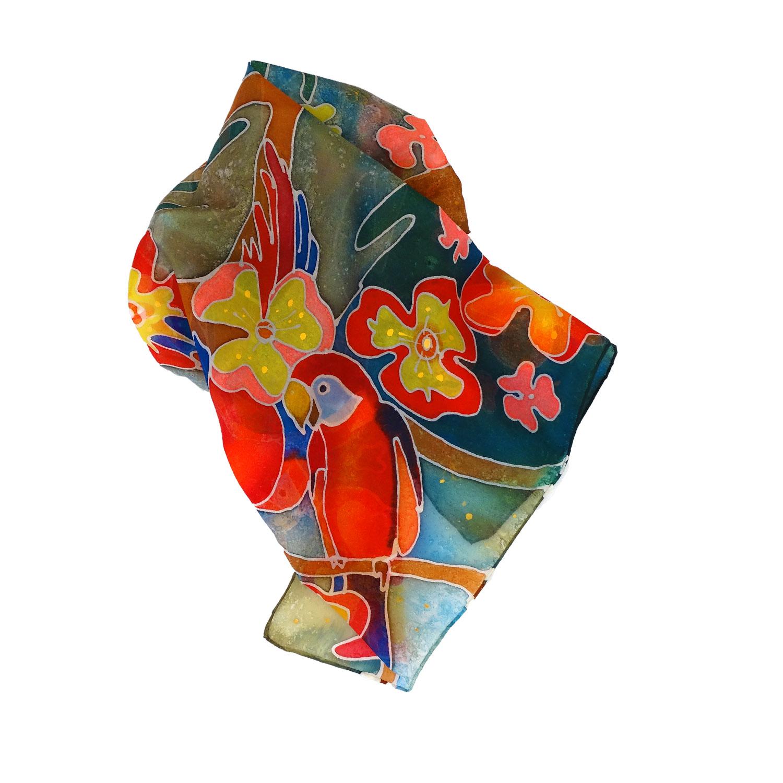 Foulard in seta dipinto a mano – Tropicana