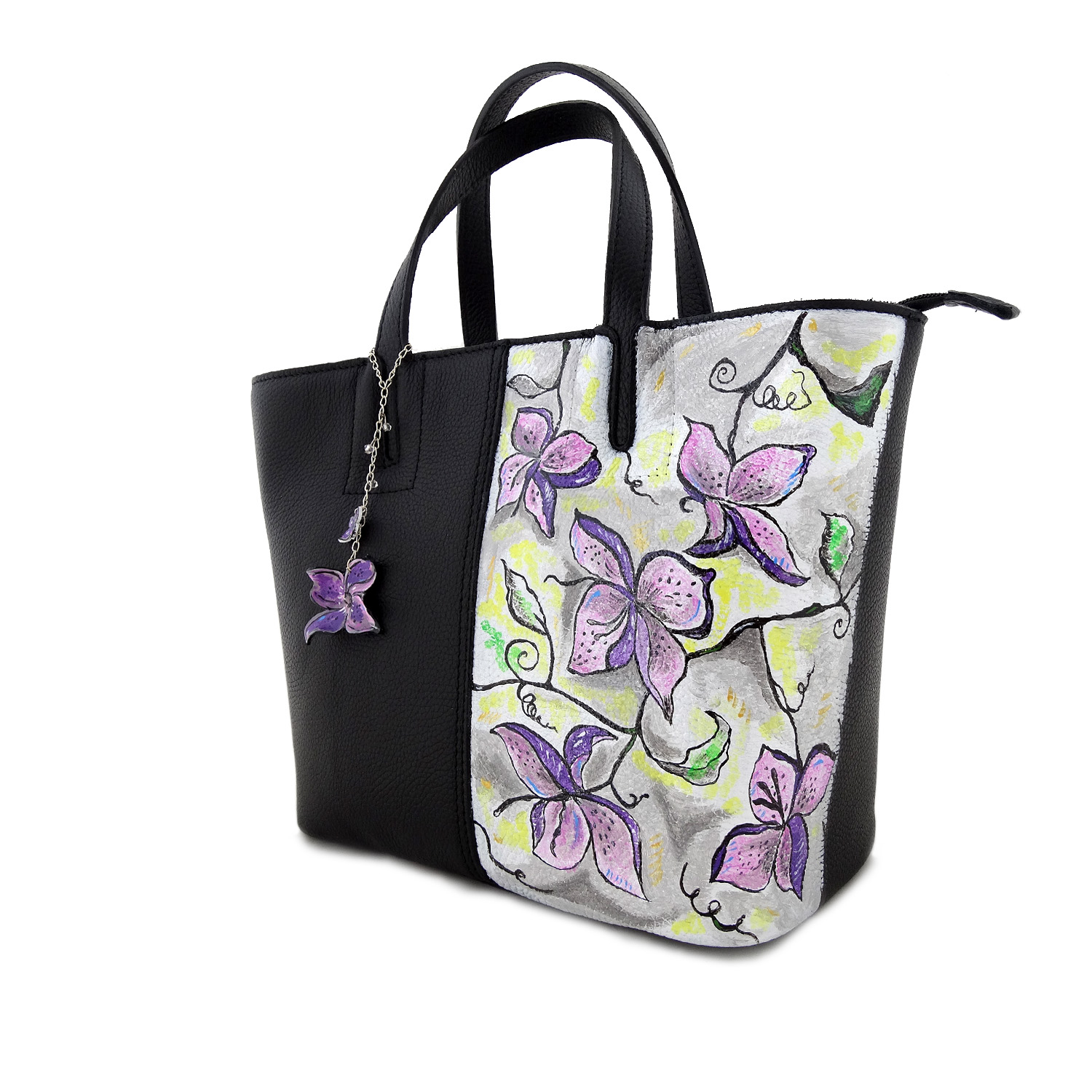 Borsa dipinta a mano – Fiori in color
