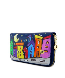 Hand painted wallet - Cartoon city night evolution